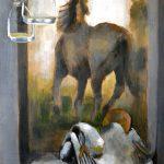 """""""Bodegón doma ecuestre"""" Acrílico y óleo sobre tabla.70 x 50 cm. 2012."""
