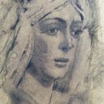 """""""Esperanza Macarena"""" Grafito y carboncillo sobre tabla. 30 x 20 cm. 2014."""